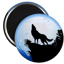 Wolf Howling at Blue Moon Magnets