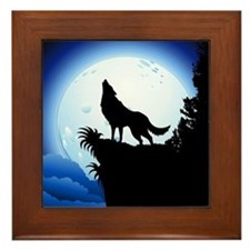 Wolf Howling at Blue Moon Framed Tile