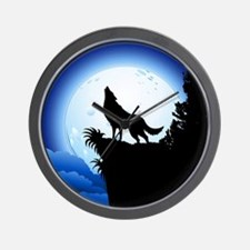 Wolf Howling at Blue Moon Wall Clock