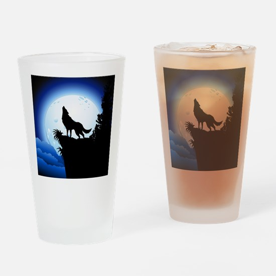 Wolf Howling at Blue Moon Drinking Glass