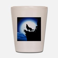 Wolf Howling at Blue Moon Shot Glass