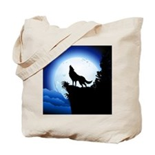 Wolf Howling at Blue Moon Tote Bag