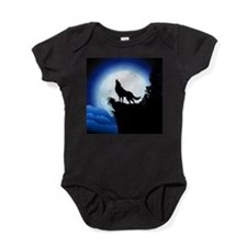 Wolf Howling at Blue Moon Baby Bodysuit