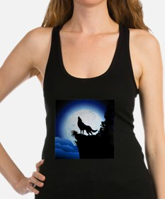 Wolf Howling at Blue Moon Racerback Tank Top