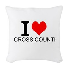 I Love Cross Country Woven Throw Pillow