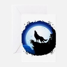 Wolf Howling at Blue Moon Greeting Cards