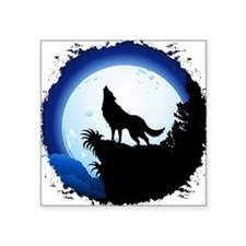 Wolf Howling at Blue Moon Sticker
