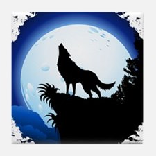 Wolf Howling at Blue Moon Tile Coaster
