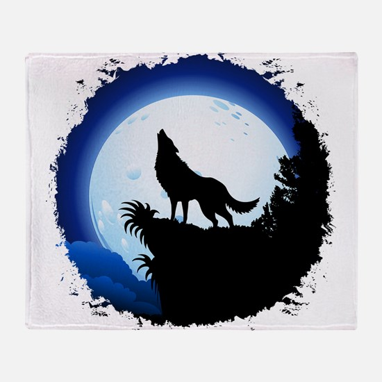 Wolf Howling at Blue Moon Throw Blanket