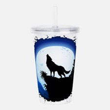 Wolf Howling at Blue Moon Acrylic Double-wall Tumb