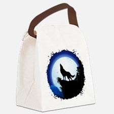 Wolf Howling at Blue Moon Canvas Lunch Bag