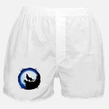 Wolf Howling at Blue Moon Boxer Shorts
