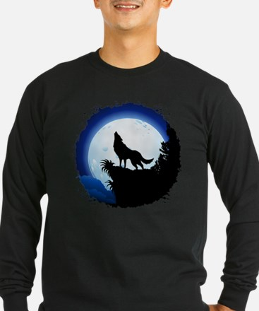 Wolf Howling at Blue Moon Long Sleeve T-Shirt