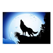 Wolf Howling at Blue Moon Postcards (Package of 8)