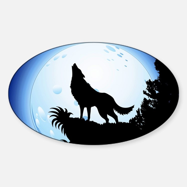 Wolf Howling at Blue Moon Decal