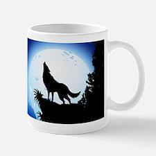 Wolf Howling at Blue Moon Mugs