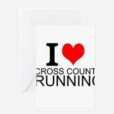 I Love Cross Country Running Greeting Cards