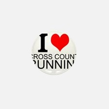 I Love Cross Country Running Mini Button