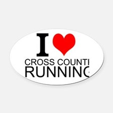 I Love Cross Country Running Oval Car Magnet
