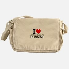 I Love Cross Country Running Messenger Bag