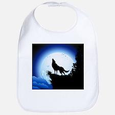 Wolf Howling at Blue Moon Bib