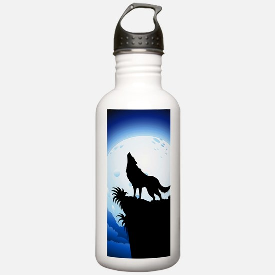 Wolf Howling at Blue Moon Water Bottle