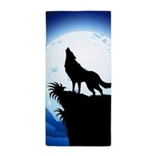Wolf Howling at Blue Moon Beach Towel