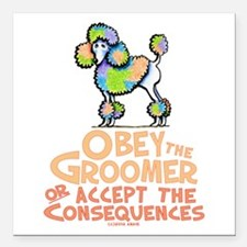 """Obey The Groomer Square Car Magnet 3"""" x 3"""""""