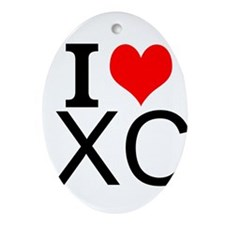 I Love Cross Country Ornament (Oval)