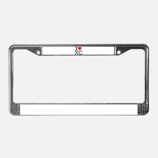 I Love Cross Country License Plate Frame