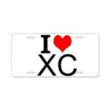 I Love Cross Country Aluminum License Plate