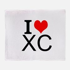 I Love Cross Country Throw Blanket