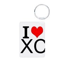 I Love Cross Country Keychains