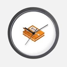 Chinese Character Books Pencil Wall Clock