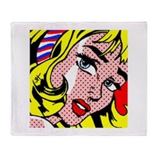 Popart Girl Throw Blanket