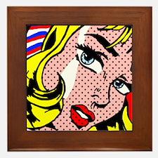 Popart Girl Framed Tile