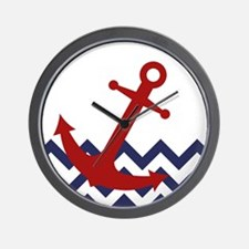 Red Anchor on Chevron Ocean Wall Clock