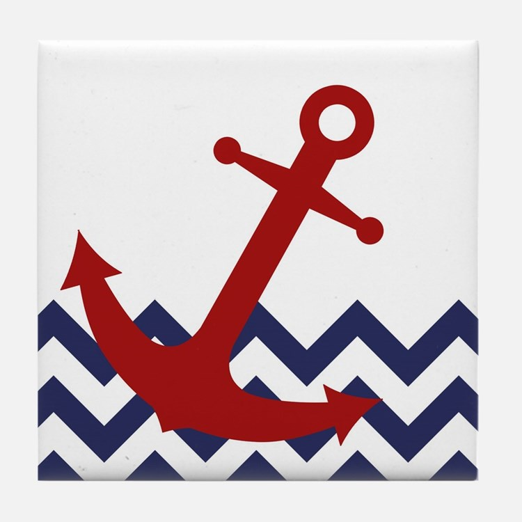 Red Anchor on Chevron Ocean Tile Coaster
