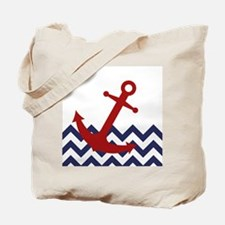 Red Anchor on Chevron Ocean Tote Bag