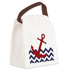 Red Anchor on Chevron Ocean Canvas Lunch Bag