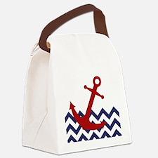 Red Anchor on Chevron Ocean Canvas Lunch Bag