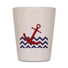 Red Anchor on Chevron Ocean Shot Glass