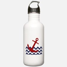 Red Anchor on Chevron Ocean Water Bottle