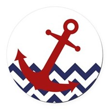 Red Anchor on Chevron Ocean Round Car Magnet