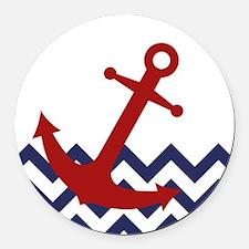 Red Anchor on Chevron Ocean Round Car Magnet