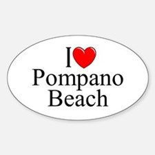 """I Love Pompano Beach"" Oval Decal"