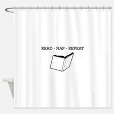 Read, nap, repeat Shower Curtain