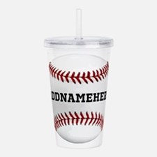 Personalized Baseball Red/White Acrylic Double-wal