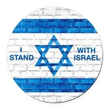 I Stand With Israel Round Car Magnet