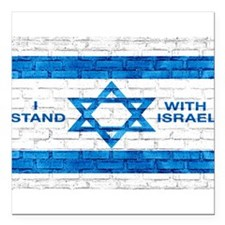 """I Stand With Israel Square Car Magnet 3"""" X 3&"""